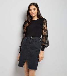 Black Lace Balloon Sleeve Jumper by New Look - suggested by Casey Hawke via email (b)