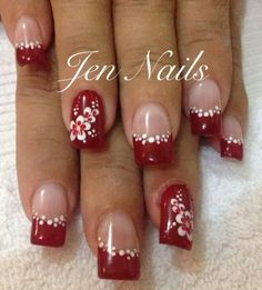 Simple Nail Art Designs That You Can Do Yourself – Your Beautiful Nails Fancy Nails, Red Nails, Cute Nails, Pretty Nails, Fingernail Designs, Red Nail Designs, Nail Designs Spring, Christmas Nails, Holiday Nails
