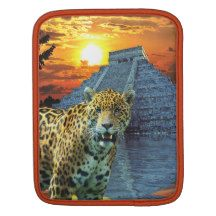 Spotted Jaguar & Mayan Temple Big Cat iPad Sleeve
