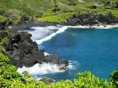 Black sand beach, Road to Hana Maui, Hawaii