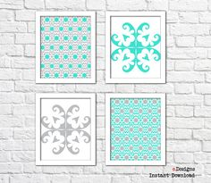 Printable Geometric Wall Art Turquoise and Grey Wall by eDesignss Turquoise Wall Decor, Turquoise Walls, Geometric Wall Art, Grey Walls, Printables, Unique Jewelry, Frame, Handmade Gifts, Etsy