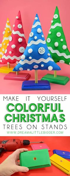 Colorful Christmas Tree, Christmas Love, All Things Christmas, Christmas Ornaments, Christmas Trees, Christmas Holidays, Winter Holiday, Christmas Crafts For Adults, Christmas Craft Projects