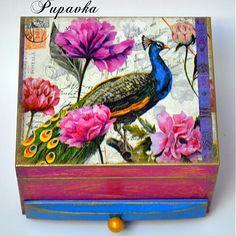 Páv medzi kvetmi by Pupavkashop - SAShE.sk - Handmade Krabičky