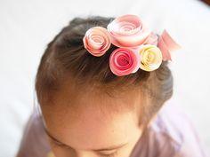 DIY paper flowers hair clips for Kids Magazine