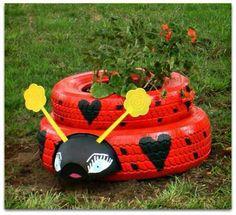 Recycled tires ladybug planter