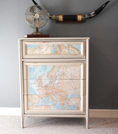 upcycled furniture Tons of ideas for re-purposed /up-cycling furniture. (I just like the map) Recycled Furniture, Cool Furniture, Painted Furniture, Furniture Design, Furniture Ideas, Modern Furniture, Shabby, Home Organization, Furniture Makeover