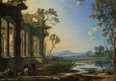 Pierre Patel the Elder, A Landscape at Evening with Travellers and a Hunter Near Classical Ruins, oil on canvas