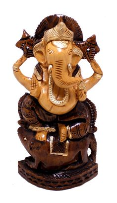 """(SKU NO: Lord ganesha statue_319) Hand Made Indian Painted Wooden Lord Ganesha Statue Size: 6"""" x 3"""" inches. Krishna Mart India"""