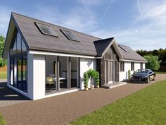 A new addition to our three bedroom bungalow plans, the Longworth is a contemporary design particularly suited to a rectangular plot. Modern Bungalow House Design, Modern Bungalow Exterior, Bungalow Homes, Dream House Exterior, Bungalow Designs, Modern Houses, House Plans Uk, Bungalow Conversion, Bungalow Extensions