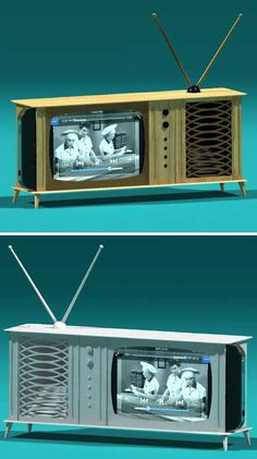 The perfect speaker dock for your living room. That is adorable! Woodworking Guide, Custom Woodworking, Woodworking Projects Plans, Vintage Tv, Wall Mounted Tv, Iphone Accessories, Wood Design, Wood Crafts, Wood Projects