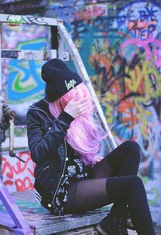 acid, girl, grunge, hair, hat, hope, lsd, ootd, pink hair