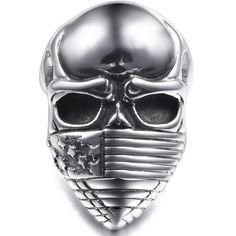 Masked Skull American Flag Ring