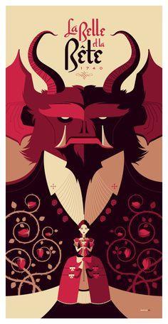 La Belle et la Bete poster by Tom Whalen