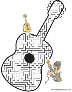 Guitar shaped maze from PrintActivities.com