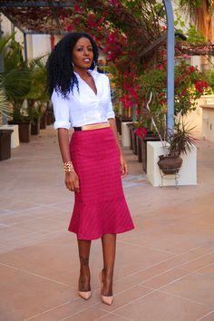 StylePantry | Flared Pencil Skirt w/ Crisp White Shirt