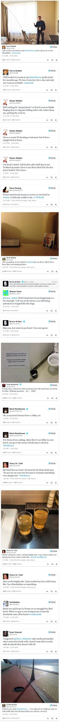 Hilarious Tweets From Journalists Arriving At The Sochi 2014 Winter Olympics Complaining About Their Hotel Rooms
