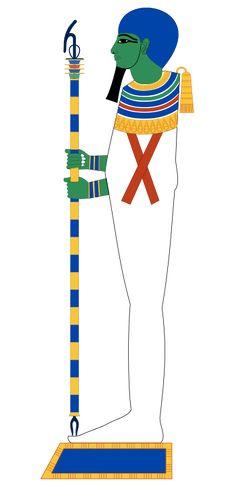 """Ptah, """"Celui qui ouvre"""", est le démiurge de Memphis, dieu des artisans & des architectes, patron de la construction, de la métallurgie & de la sculpture. Il est également le patron des chantiers navals & des charpentiers en général. Dans la Triade de Memphis, il est l'époux de Neith et deviendra tardivement celui de Sekhmet; il est le père de Néfertoum. Sous l'Ancien Empire, Ptah est, avec Rê, le dieu impérial - Dessin vectoriel de Jeff Dahl."""