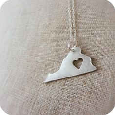 Silver I Love Virginia Necklace, $35 #etsy