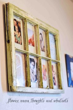 distressed repurposed window frame into art and photo collage