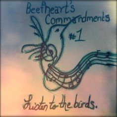 1. LISTEN TO THE BIRDS That's where all the music comes from. Birds know everything about how it should sound and where that sound should come from. And watch hummingbirds. They fly really fast, but a lot of times they aren't going anywhere. (illustration caption for Captain Beefheart's 10 commandments (hand-drawn ink and watercolor on paper + photoshop + filter)