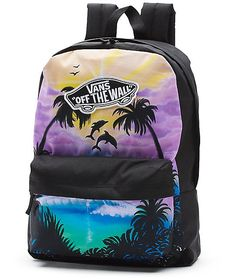 Flipper would flip if she saw the Vans Realm Dolphin Beach backpack and the sweet tropical sunset and dolphin silhouette print that was created with a real porpoise.