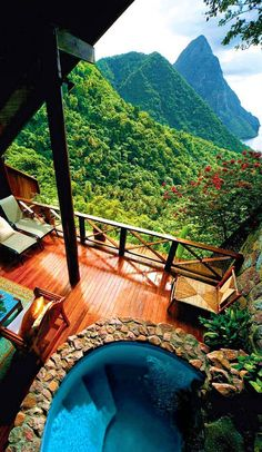Ladera Resort, St Lucia - With fabulous views of The Pitons, lovely airy suites, each with an omitted fourth wall. Places Around The World, Oh The Places You'll Go, Places To Travel, Around The Worlds, Vacation Destinations, Dream Vacations, Romantic Destinations, Dream Vacation Spots, Vacation Rentals