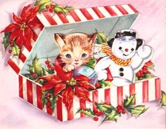 Christmas card from the 1940s or 1950s featuring a kitten and a snowman in a peppermint-striped box with poinsettia and holly.