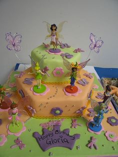 This cake was a combined effort - a bakery made the cakes and iced them and the girls mother and I decorated them with fondant accents and fairies etc. Cake Cookies, Cupcake Cakes, Fairy Birthday, Cute Cakes, Creative Cakes, I Party, Party Cakes, Baby Shower Themes, Holidays And Events