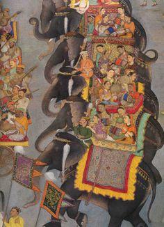 Padshanama Elephants,  Mughal Painting; India s. XVIII