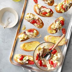 If you're looking for the best bruschetta recipe, you're in the right spot! We've rounded up delicious bruschetta and crostini appetizers. Make Ahead Appetizers, Holiday Appetizers, Appetizer Dips, Appetizer Recipes, Freezable Appetizers, Healthy Appetizers, Holiday Treats, Taste Of Home, Potluck Recipes