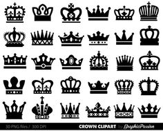Crown Clipart King Queen Crown Clip Art Royal by GraphicPassion Couple Tattoos, Leg Tattoos, Small Tattoos, Crown Tattoos, Royal Crowns, Crown Royal, Clipart, Crown Stencil, Queen Crown Tattoo