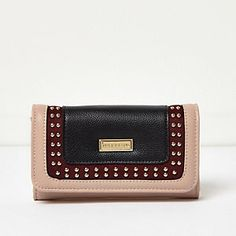 Girls red studded contrast trifold purse
