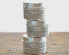 Holiday Scents Soy Candle Tin Set  of 3  by plainjbodyandhome, $15.00