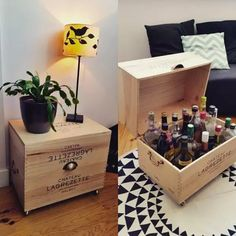 17 cool things you can make with wooden wine boxes What is Decoration? Decoration could be the art of decorating … Diy Furniture Cheap, Repurposed Furniture, Cheap Home Decor, Furniture Decor, Diy Home Decor, Wine Furniture, Furniture Stores, Discount Furniture, Wooden Wine Crates