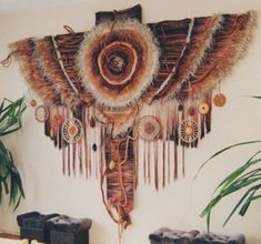 Technique of Tapestry Decorating with Feathers, Beads, Dried Herbs and Other Elements