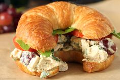 Curried smoked Chicken, Fennel & Grape salad sandwich on a CROISSANT (my fave)