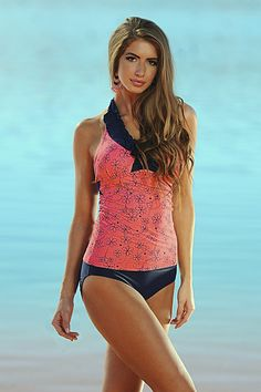 e94bc90b40011 Ruffle V-Halter - Sunrise Coral Retro Flowers Modest Swimsuits, Two Piece  Swimsuits,