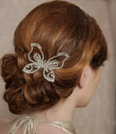 Butterfly Headpiece Crystal Butterfly Hair Comb by GildedShadows, $36.95