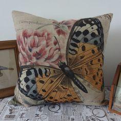 45cmx45cm Yellow Butterfly Pink Flower Pillow by SnowLittleShop, $16.00