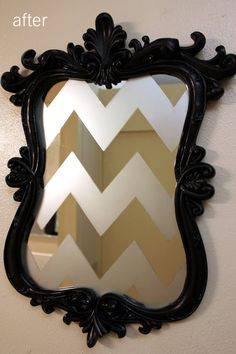 frosted glass spray paint, tape and an old mirror and frame! Maybe use lace to frost around the edges instead of the chevron? Frosted Glass Paint, Tinta Spray, Do It Yourself Furniture, Diy Furniture, Old Mirrors, Crafty Craft, Crafting, My New Room, Diy Art
