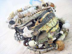 Liquid Light. Ivory, White and Grey Victorian Tribal Rustic Gypsy Bangle Stack, bracelet set.