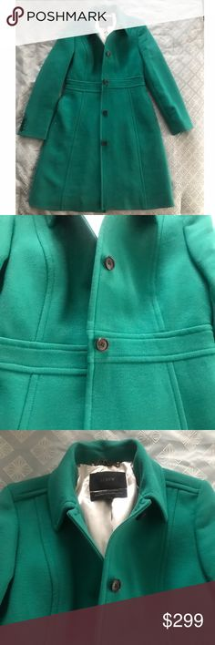 "!!LAST CALL!! Emerald J Crew Lady Day Coat 8 NWT I'M GOING TO BE REMOVING THIS LISTING SOMETIME ON 3/2/2017.  IF YOU ARE INTERESTED BUY NOW OR MAKE AN OFFER BEFORE IT IS TOO LATE!  PRICE IS PRETTY FIRM. Elegant Emerald Green Fitted J Crew Lady Day Coat 8 NWT. Double-cloth lady day coat with Thinsulate. Italian wool/nylon.  Heritage green.  Round collar. Functional buttons at cuffs. On-seam pockets. Lined in Thinsulate. Tailored for a fitted look. Body length: 37 1/2"". Sleeve length: 32 3/4""…"