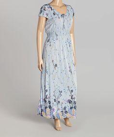 Look at this #zulilyfind! Baby Blue Floral Maxi Dress - Plus by VELZERA #zulilyfinds