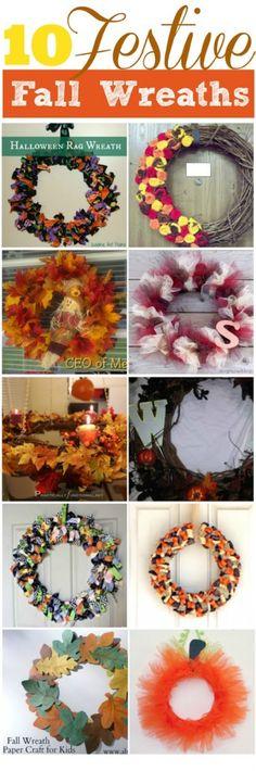 I love DIY fall wreaths. Check out these 10 fall wreath ideas. Super cute! #fallcrafts #falldecor