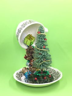 Next Christmas on the mantel! Floating Tea Cup Christmas Tree Holiday Centerpiece Teacup