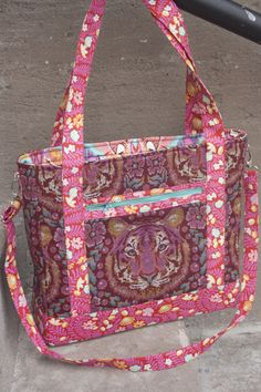Sew Sweetness Tudor Bag sewing pattern made with Tula Pink Eden