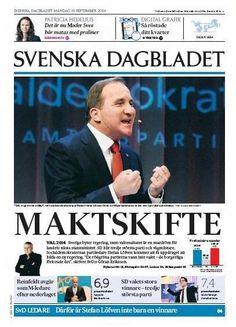 Newspaper Front Page Svenska Dagbladet (Sweden) September 15, 2014 - Stefan Löfven