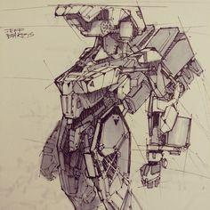 Robot Sketch, Jeff Bartzis on ArtStation at https://www.artstation.com/artwork/E4lqA
