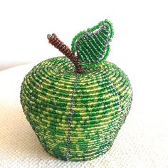 African Wire and Bead Art - APPLE - Medium Green