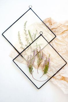 Stained glass panel with heather pressed flowers botanical home decor herbarium santonica and sea buckthorn wall art